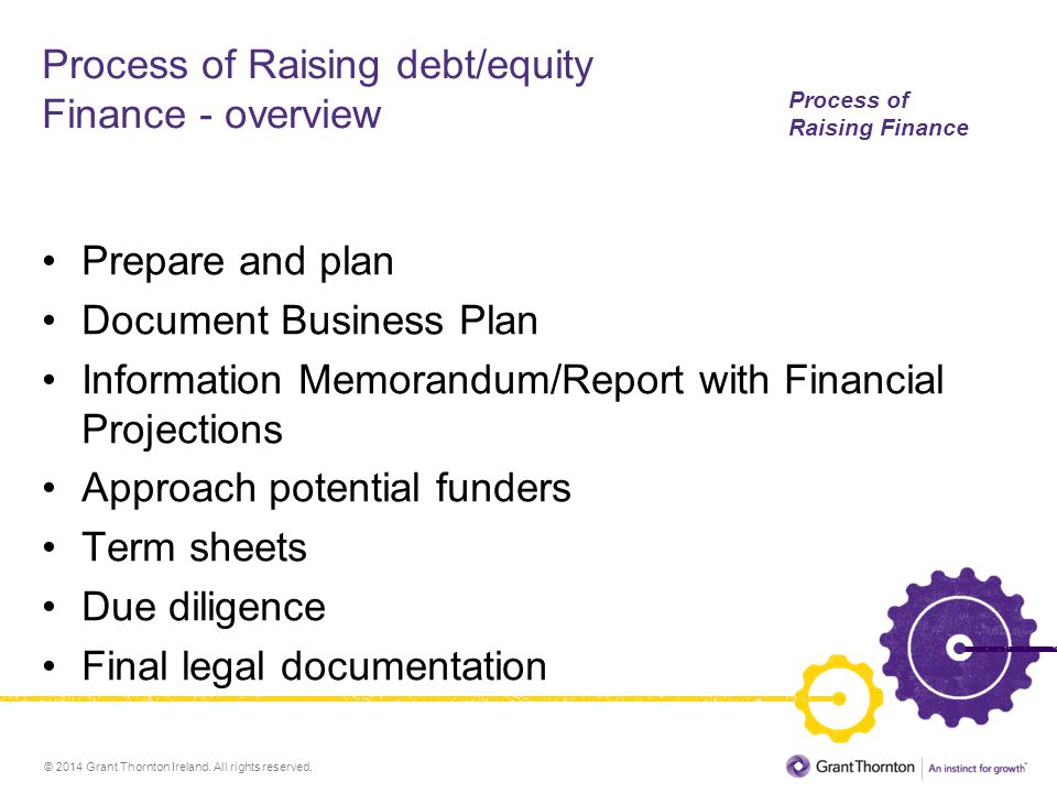 © 2014 Grant Thornton Ireland. All rights reserved. Process of Raising debt/equity Finance - overview Prepare and plan Document Business Plan Informat
