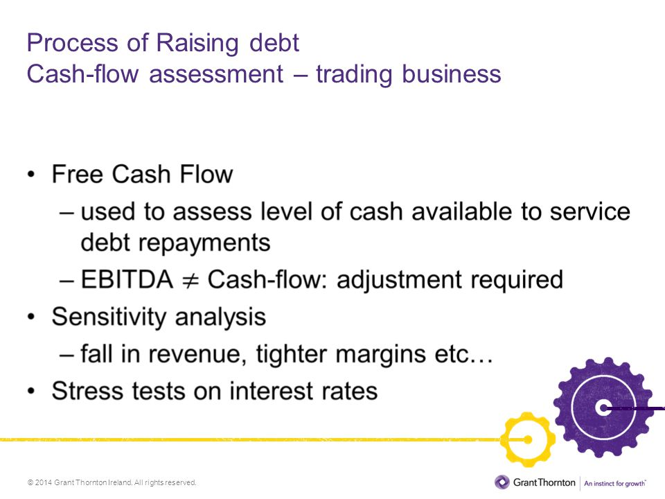© 2014 Grant Thornton Ireland. All rights reserved. Process of Raising debt Cash-flow assessment – trading business