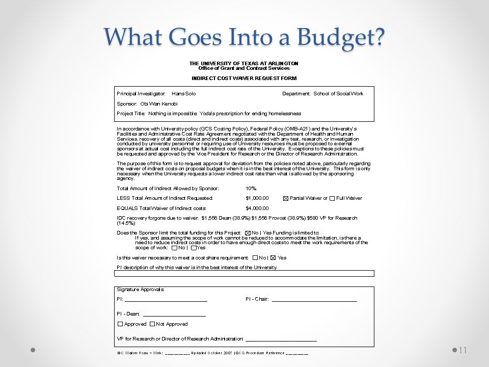 What Goes Into a Budget? 11