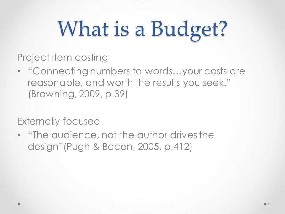 What Goes Into a Budget.