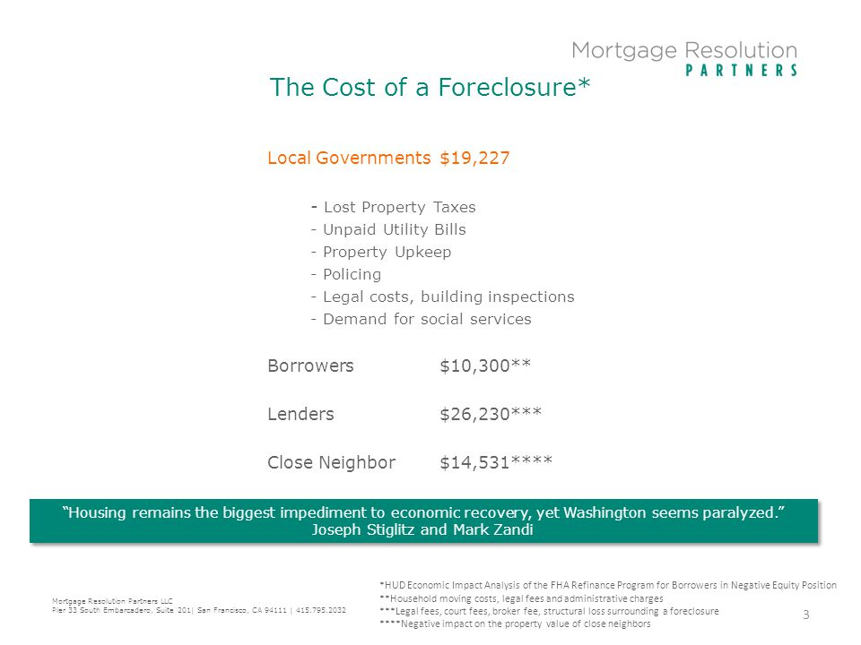 The Cost of a Foreclosure* Local Governments$19,227 - Lost Property Taxes - Unpaid Utility Bills - Property Upkeep - Policing - Legal costs, building