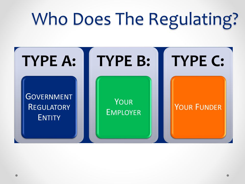Who Does The Regulating? TYPE A: G OVERNMENT R EGULATORY E NTITY TYPE B: Y OUR E MPLOYER TYPE C: Y OUR F UNDER