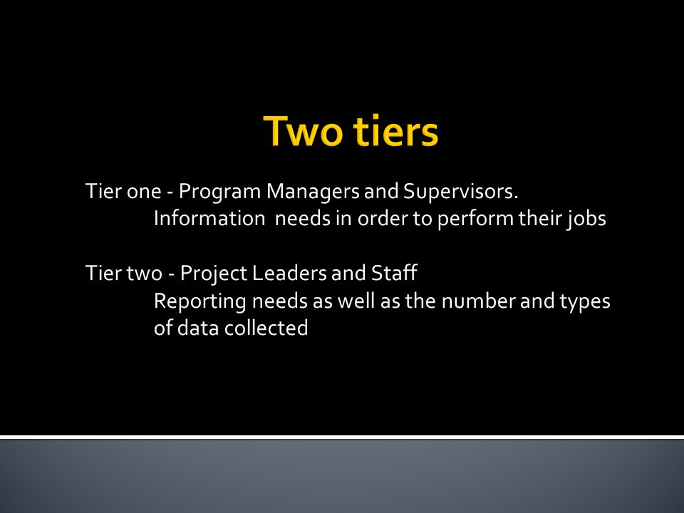 Tier one - Program Managers and Supervisors.