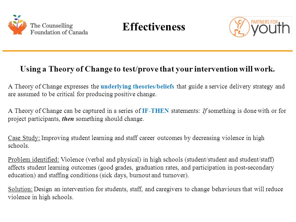 Effectiveness Using a Theory of Change to test/prove that your intervention will work. A Theory of Change expresses the underlying theories/beliefs th