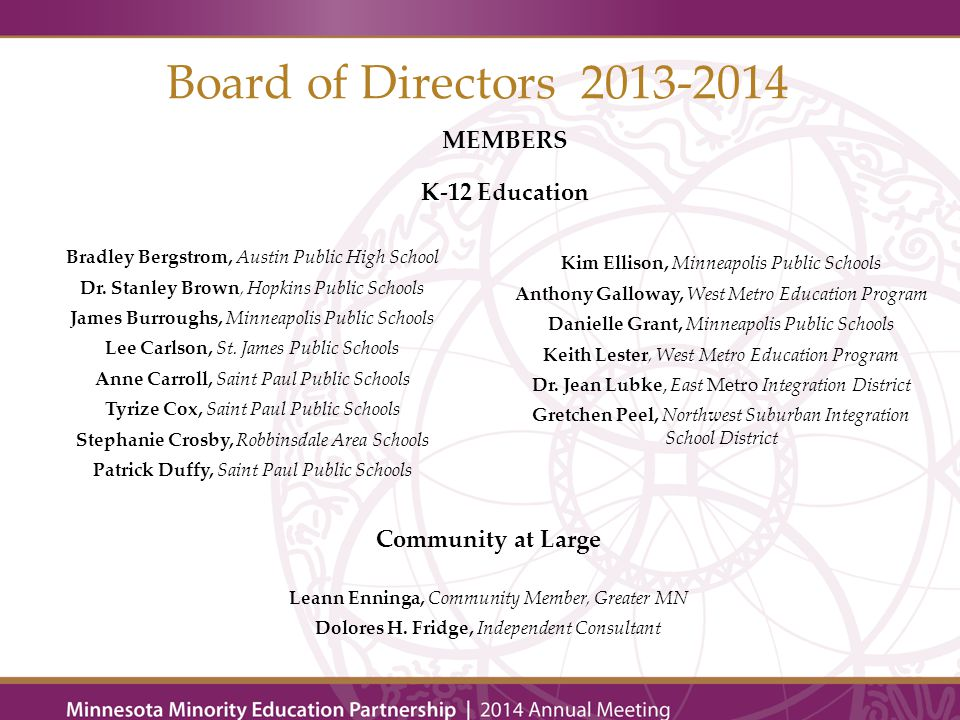 Board of Directors 2013-2014 MEMBERS K-12 Education Bradley Bergstrom, Austin Public High School Dr.