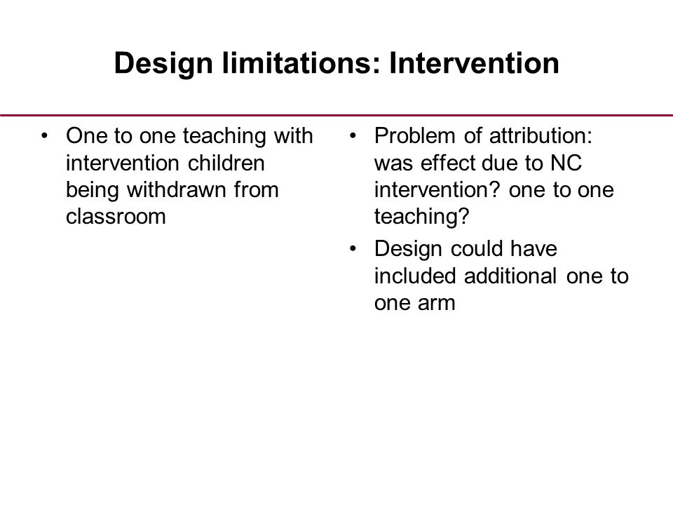 Design limitations: Intervention One to one teaching with intervention children being withdrawn from classroom Problem of attribution: was effect due to NC intervention.