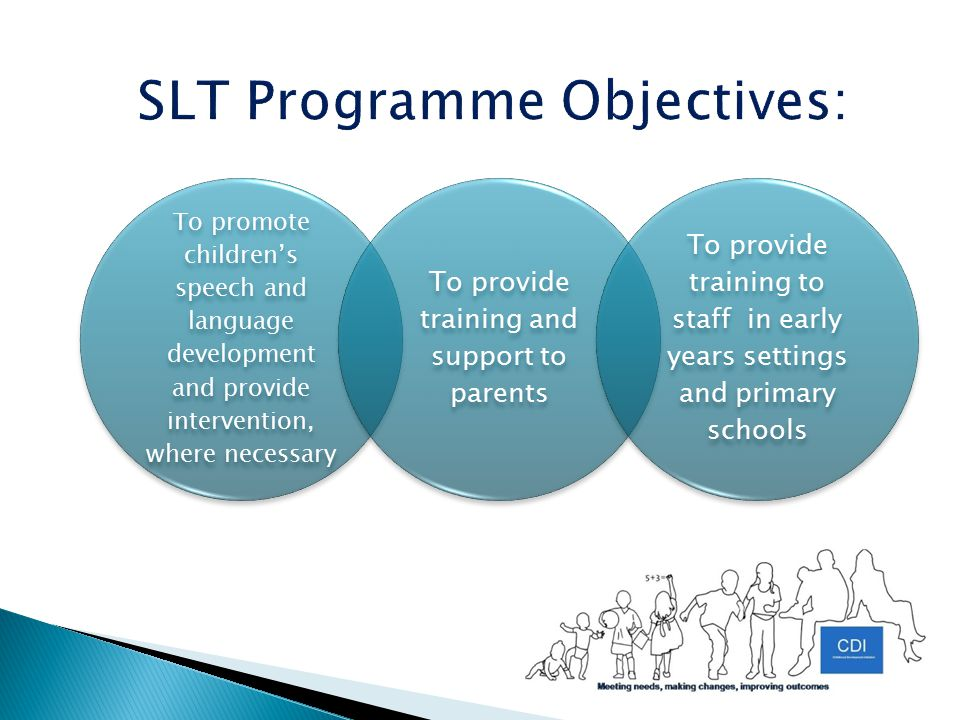 To promote children's speech and language development and provide intervention, where necessary To provide training and support to parents To provide training to staff in early years settings and primary schools