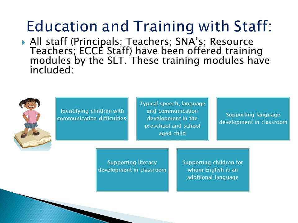  All staff (Principals; Teachers; SNA's; Resource Teachers; ECCE Staff) have been offered training modules by the SLT.