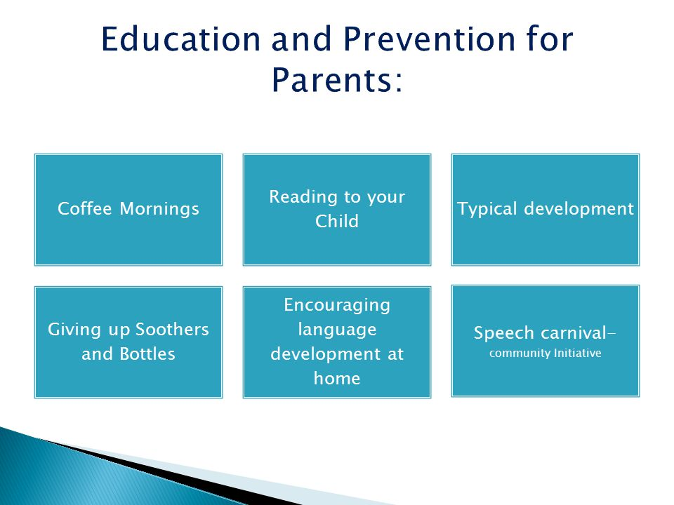 Coffee Mornings Reading to your Child Typical development Giving up Soothers and Bottles Encouraging language development at home Speech carnival- community Initiative