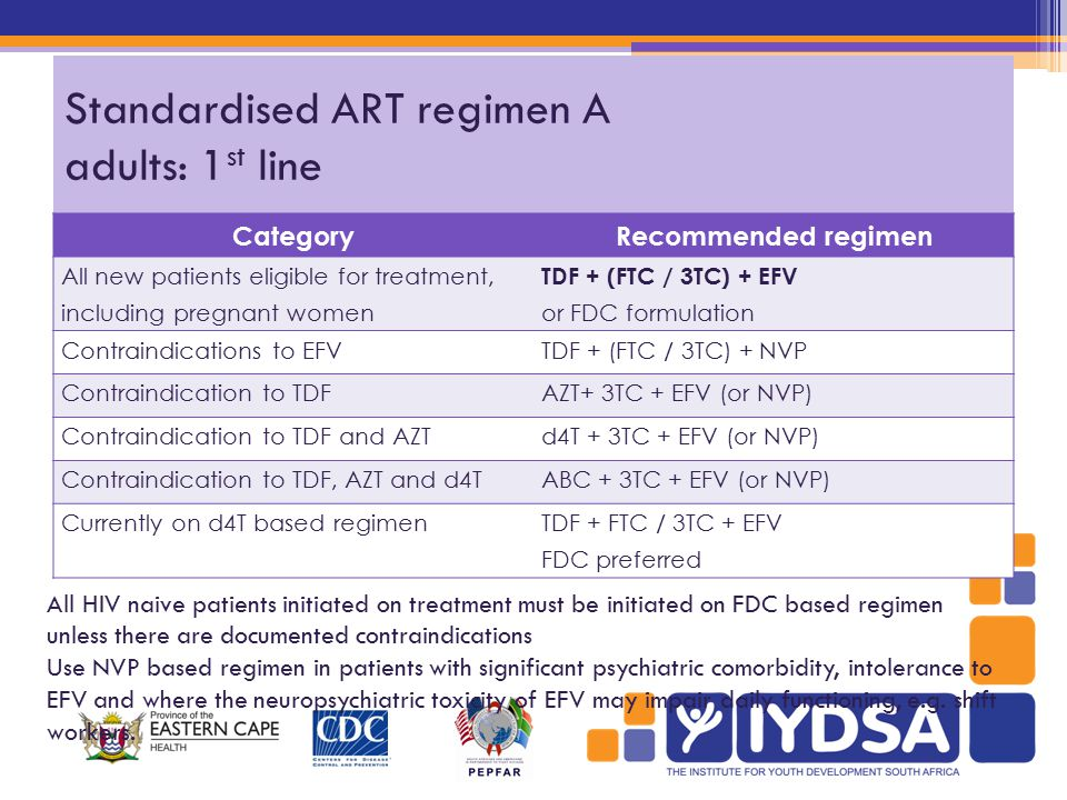 Standardised ART regimen A adults: 1 st line CategoryRecommended regimen All new patients eligible for treatment, including pregnant women TDF + (FTC / 3TC) + EFV or FDC formulation Contraindications to EFVTDF + (FTC / 3TC) + NVP Contraindication to TDFAZT+ 3TC + EFV (or NVP) Contraindication to TDF and AZTd4T + 3TC + EFV (or NVP) Contraindication to TDF, AZT and d4TABC + 3TC + EFV (or NVP) Currently on d4T based regimenTDF + FTC / 3TC + EFV FDC preferred All HIV naive patients initiated on treatment must be initiated on FDC based regimen unless there are documented contraindications Use NVP based regimen in patients with significant psychiatric comorbidity, intolerance to EFV and where the neuropsychiatric toxicity of EFV may impair daily functioning, e.g.