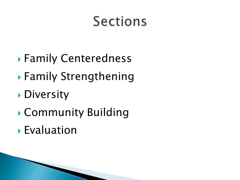  Family Centeredness  Family Strengthening  Diversity  Community Building  Evaluation