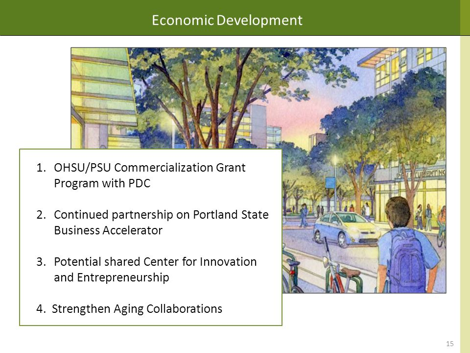 Economic Development 15 1.OHSU/PSU Commercialization Grant Program with PDC 2.Continued partnership on Portland State Business Accelerator 3.Potential shared Center for Innovation and Entrepreneurship 4.