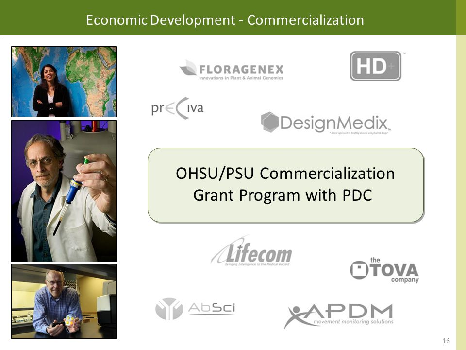 Economic Development - Commercialization OHSU/PSU Commercialization Grant Program with PDC 16