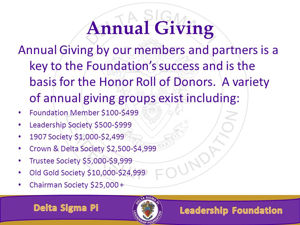 Annual Giving Annual Giving by our members and partners is a key to the Foundation's success and is the basis for the Honor Roll of Donors.