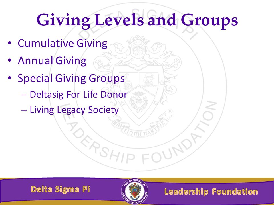Giving Levels and Groups Cumulative Giving Annual Giving Special Giving Groups – Deltasig For Life Donor – Living Legacy Society