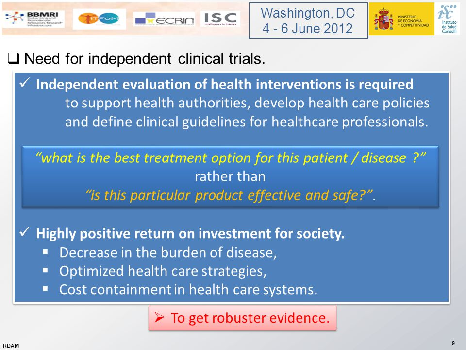  Need for multinational collaboration.Rapid assessment of the effects of treatments.