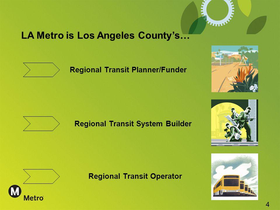 LA Metro is Los Angeles County's… Regional Transit Planner/Funder Regional Transit System Builder Regional Transit Operator 4