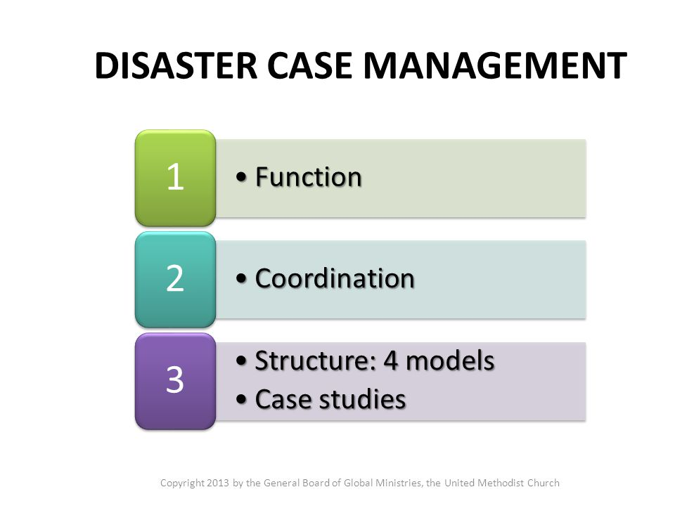 FunctionFunction 1 CoordinationCoordination 2 Structure: 4 modelsStructure: 4 models Case studiesCase studies 3 DISASTER CASE MANAGEMENT Copyright 2013 by the General Board of Global Ministries, the United Methodist Church