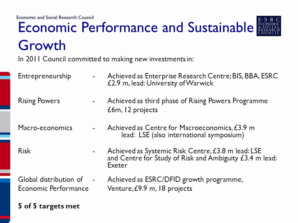 Economic Performance and Sustainable Growth In 2011 Council committed to making new investments in: Entrepreneurship- Achieved as Enterprise Research