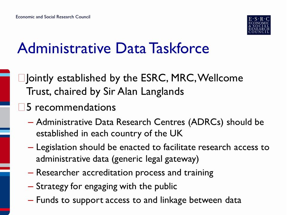 Administrative Data Taskforce ▶ Jointly established by the ESRC, MRC, Wellcome Trust, chaired by Sir Alan Langlands ▶ 5 recommendations – Administrati