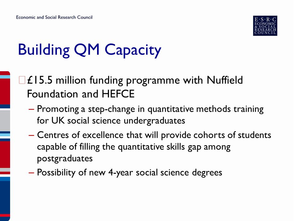 Building QM Capacity ▶ £15.5 million funding programme with Nuffield Foundation and HEFCE – Promoting a step-change in quantitative methods training for UK social science undergraduates – Centres of excellence that will provide cohorts of students capable of filling the quantitative skills gap among postgraduates – Possibility of new 4-year social science degrees