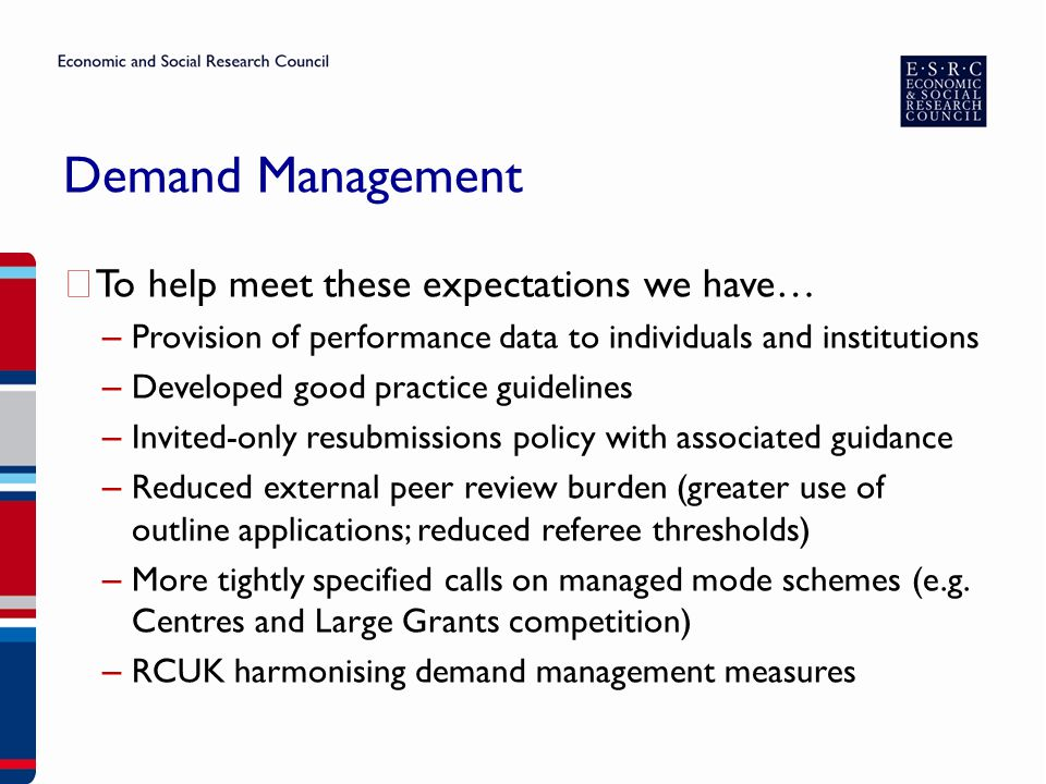 Demand Management ▶ To help meet these expectations we have… – Provision of performance data to individuals and institutions – Developed good practice