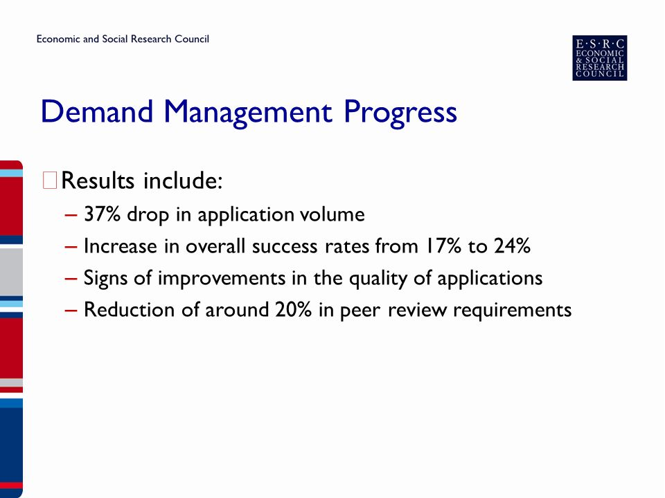 Demand Management Progress ▶ Results include: – 37% drop in application volume – Increase in overall success rates from 17% to 24% – Signs of improvements in the quality of applications – Reduction of around 20% in peer review requirements