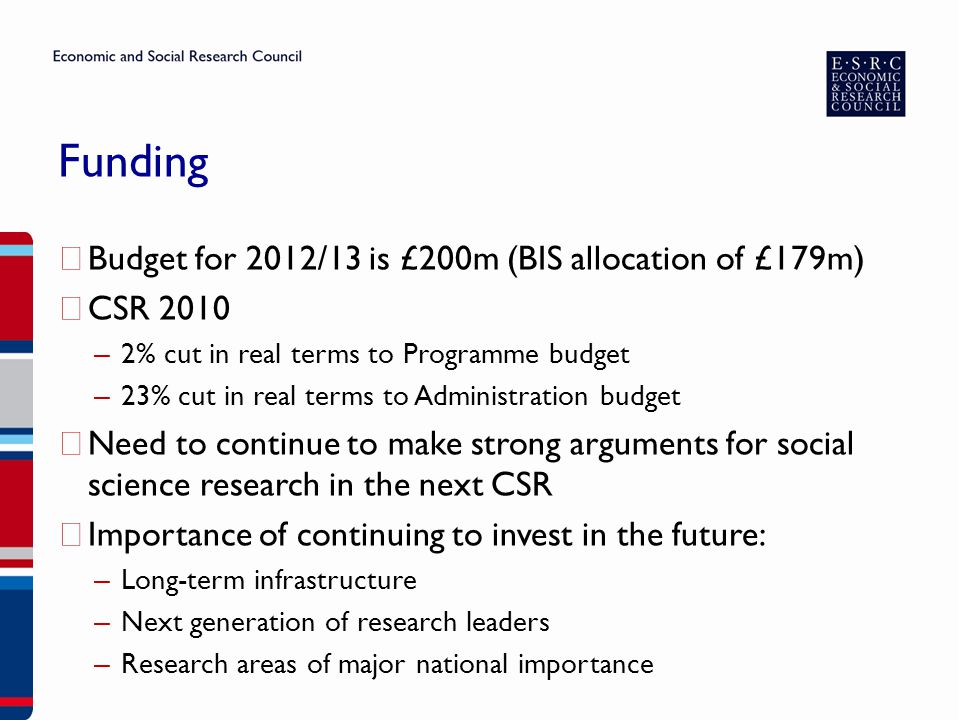 Funding ▶ Budget for 2012/13 is £200m (BIS allocation of £179m) ▶ CSR 2010 – 2% cut in real terms to Programme budget – 23% cut in real terms to Admin