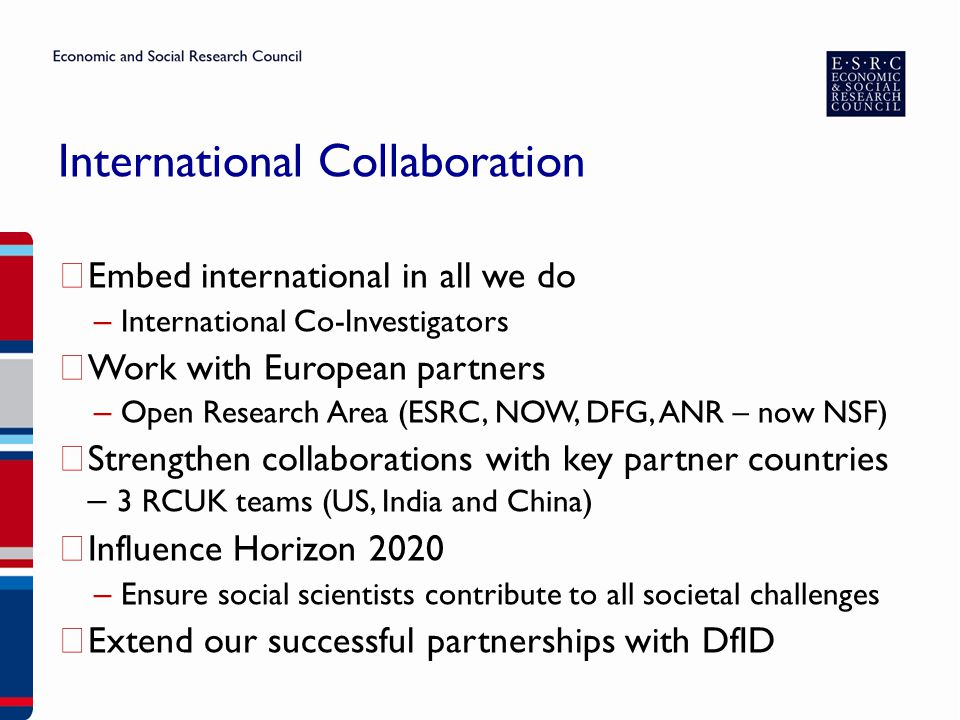 International Collaboration ▶ Embed international in all we do – International Co-Investigators ▶ Work with European partners – Open Research Area (ESRC, NOW, DFG, ANR – now NSF) ▶ Strengthen collaborations with key partner countries – 3 RCUK teams (US, India and China) ▶ Influence Horizon 2020 – Ensure social scientists contribute to all societal challenges ▶ Extend our successful partnerships with DfID