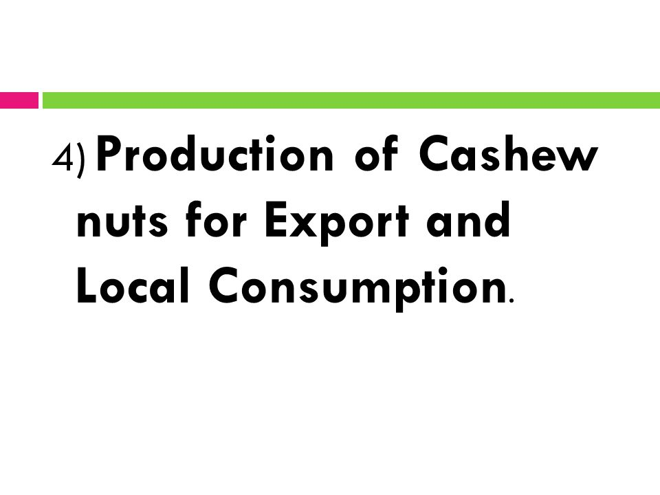 4) Production of Cashew nuts for Export and Local Consumption.