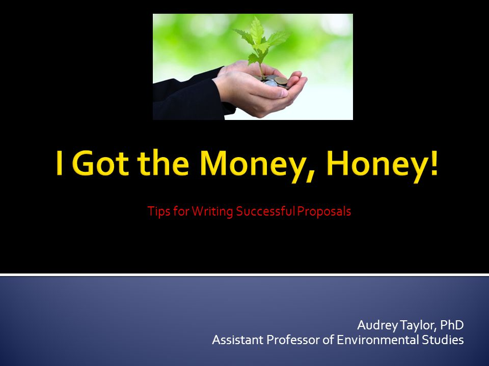 Tips for Writing Successful Proposals Audrey Taylor, PhD Assistant Professor of Environmental Studies