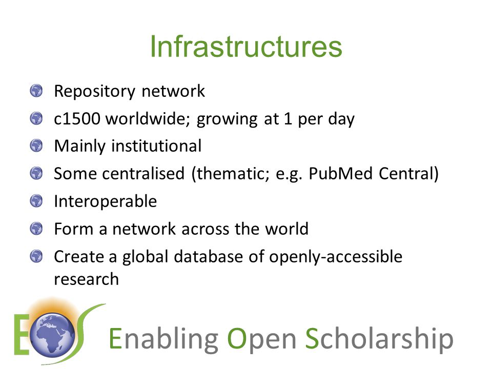 Infrastructures Repository network c1500 worldwide; growing at 1 per day Mainly institutional Some centralised (thematic; e.g.
