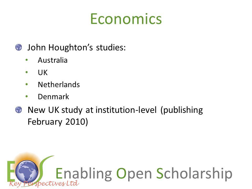 Enabling Open Scholarship Economics John Houghton's studies: Australia UK Netherlands Denmark New UK study at institution-level (publishing February 2010) Key Perspectives Ltd