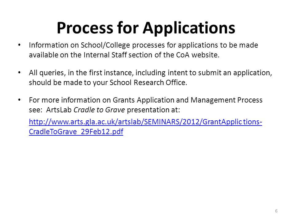 Process for Applications Information on School/College processes for applications to be made available on the Internal Staff section of the CoA website.