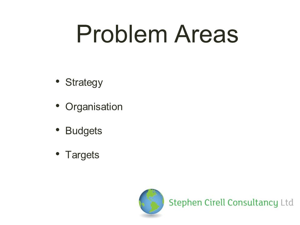 Problem Areas Strategy Organisation Budgets Targets