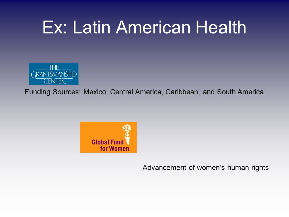 Ex: Latin American Health Funding Sources: Mexico, Central America, Caribbean, and South America Advancement of women's human rights
