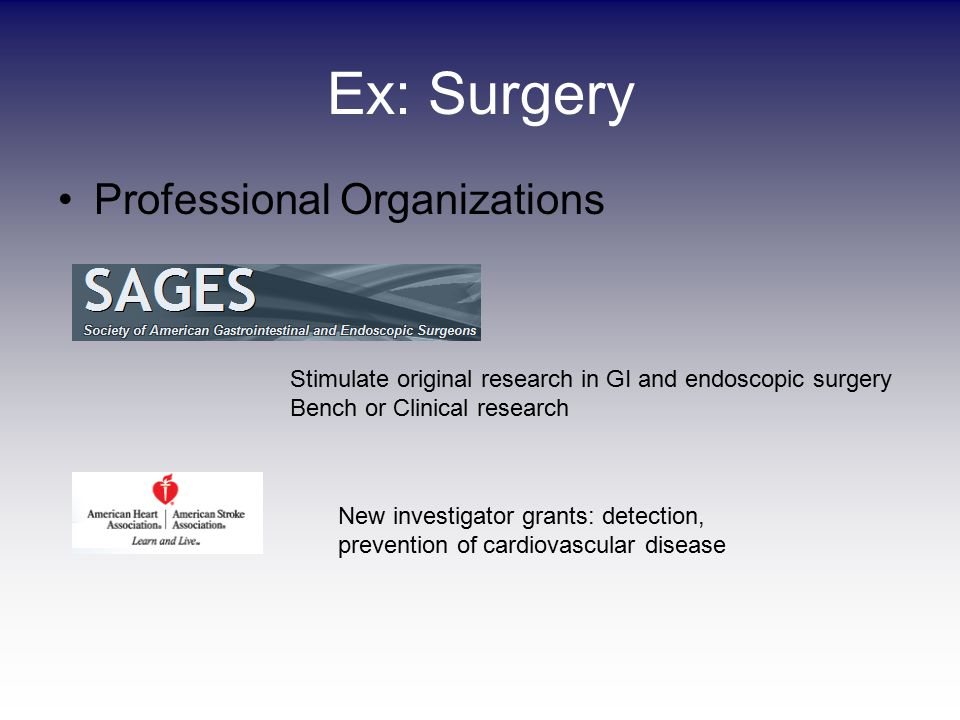 Ex: Surgery Professional Organizations New investigator grants: detection, prevention of cardiovascular disease Stimulate original research in GI and endoscopic surgery Bench or Clinical research