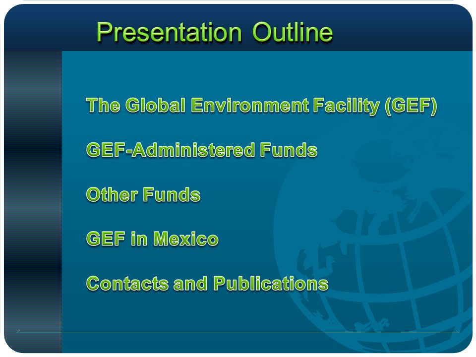 The Global Environment Facility (GEF) is a mechanism for international cooperation for the purpose of providing new, and additional, grant and concessional funding to meet the agreed incremental costs of measures to achieve agreed global environmental benefits.
