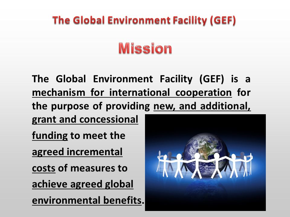 The GEF is the financial mechanism for the: Convention on Biological Diversity (CBD); Convention on Climate Change (UNFCCC); Convention on Combating Desertification (UNCCD); Stockholm Convention for Persistent Organic Pollutants (POPs).