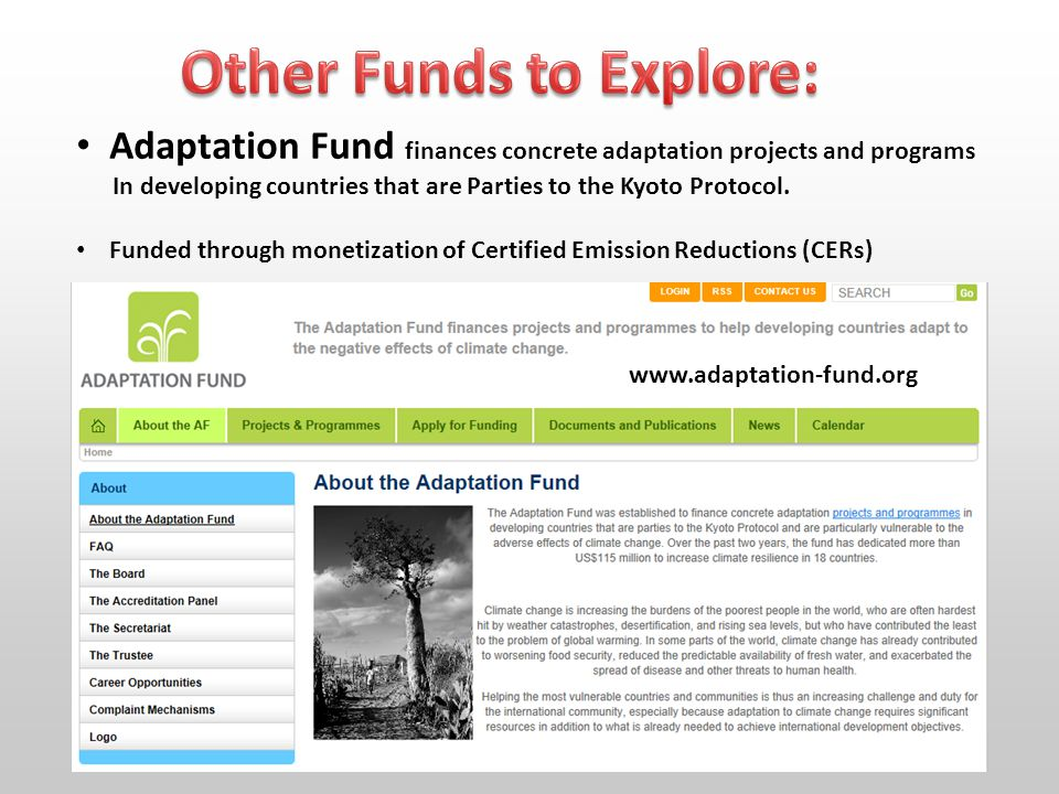 www.adaptation-fund.org Adaptation Fund finances concrete adaptation projects and programs In developing countries that are Parties to the Kyoto Protocol.