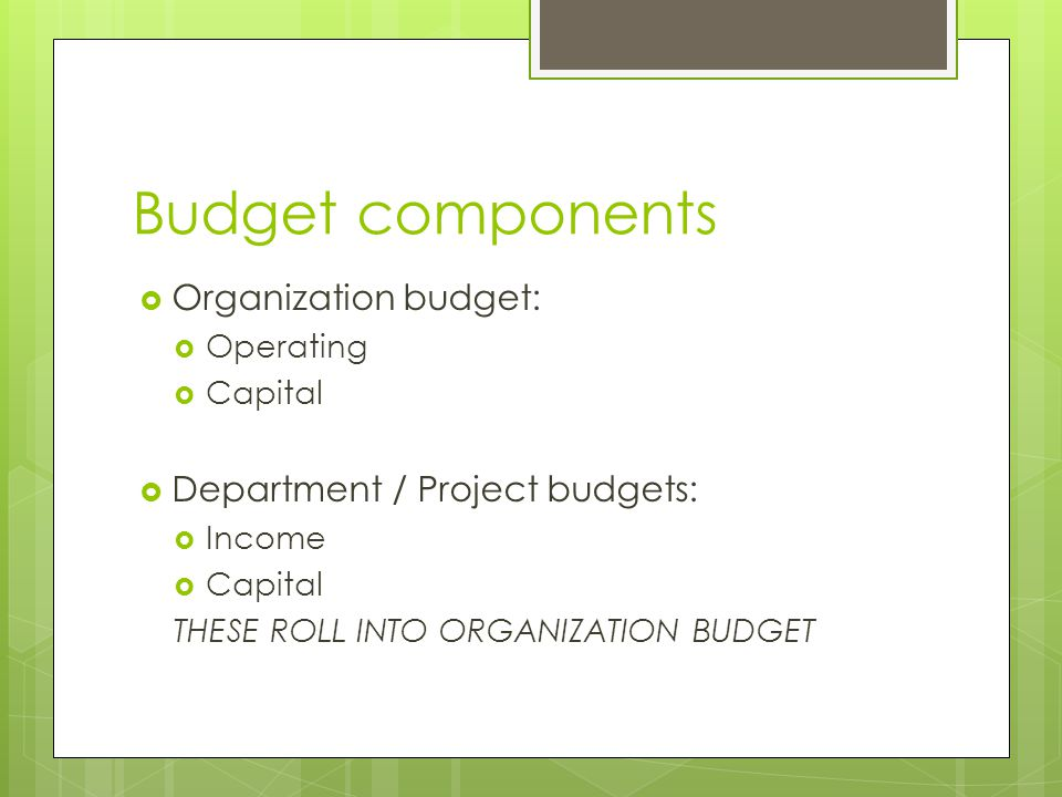 Budget components  Organization budget:  Operating  Capital  Department / Project budgets:  Income  Capital THESE ROLL INTO ORGANIZATION BUDGET