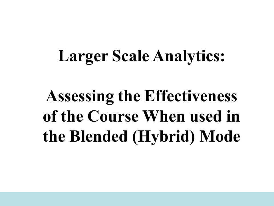 Larger Scale Analytics: Assessing the Effectiveness of the Course When used in the Blended (Hybrid) Mode