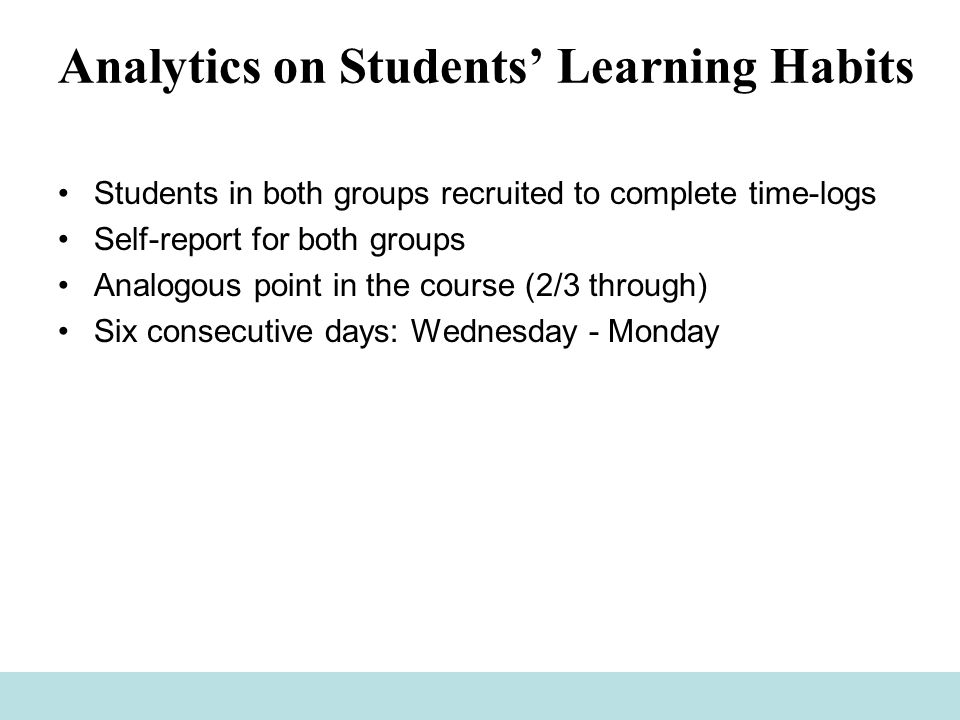 Analytics on Students' Learning Habits Students in both groups recruited to complete time-logs Self-report for both groups Analogous point in the course (2/3 through) Six consecutive days: Wednesday - Monday