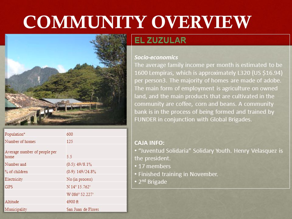 COMMUNITY OVERVIEW EL ZUZULAR Socio-economics The average family income per month is estimated to be 1600 Lempiras, which is approximately L320 (US $16.94) per person3.