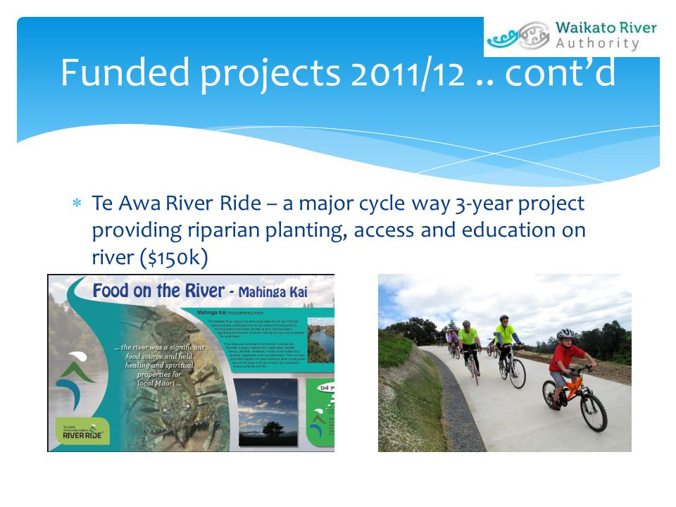  Te Awa River Ride – a major cycle way 3-year project providing riparian planting, access and education on river ($150k) Funded projects 2011/12..