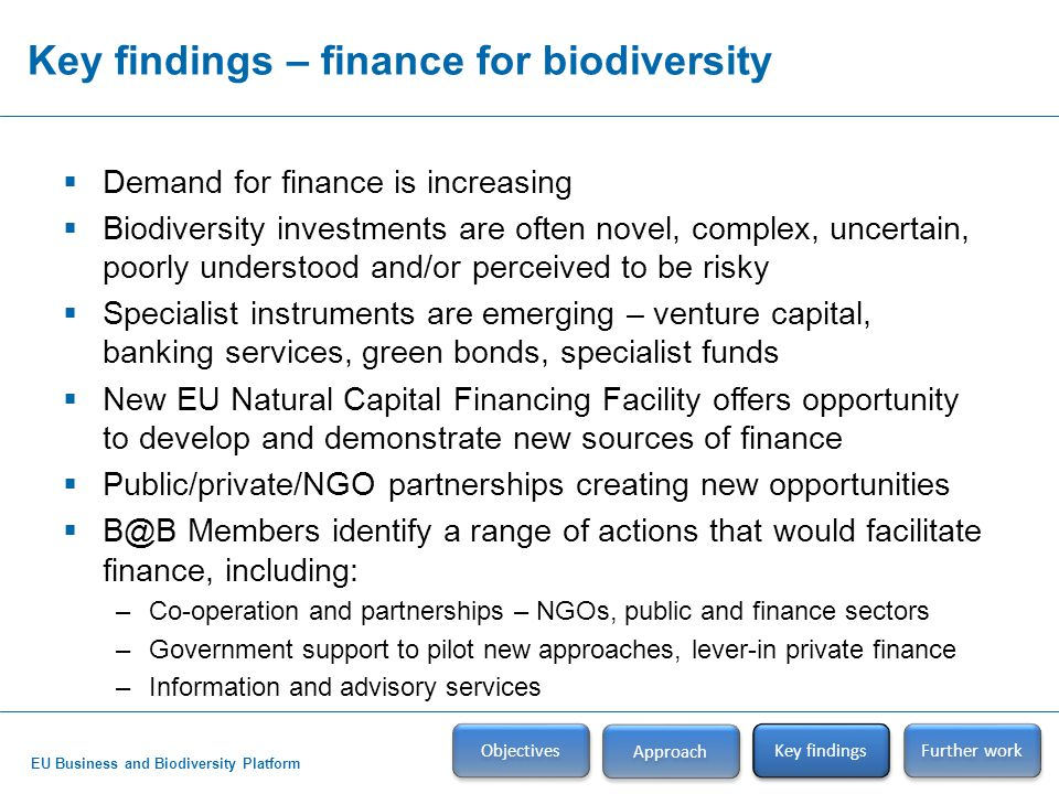 EU Business and Biodiversity Platform Key findings – finance for biodiversity Objectives Approach Key findings  Demand for finance is increasing  Biodiversity investments are often novel, complex, uncertain, poorly understood and/or perceived to be risky  Specialist instruments are emerging – venture capital, banking services, green bonds, specialist funds  New EU Natural Capital Financing Facility offers opportunity to develop and demonstrate new sources of finance  Public/private/NGO partnerships creating new opportunities  B@B Members identify a range of actions that would facilitate finance, including: –Co-operation and partnerships – NGOs, public and finance sectors –Government support to pilot new approaches, lever-in private finance –Information and advisory services Further work