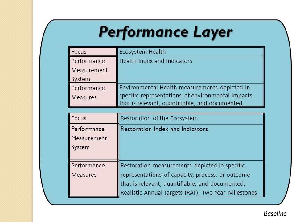 Performance Layer FocusEcosystem Health Performance Measurement System Health Index and Indicators Performance Measures Environmental Health measurements depicted in specific representations of environmental impacts that is relevant, quantifiable, and documented.