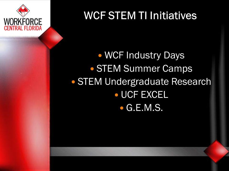 WCF STEM TI Initiatives WCF Industry Days STEM Summer Camps STEM Undergraduate Research UCF EXCEL G.E.M.S.