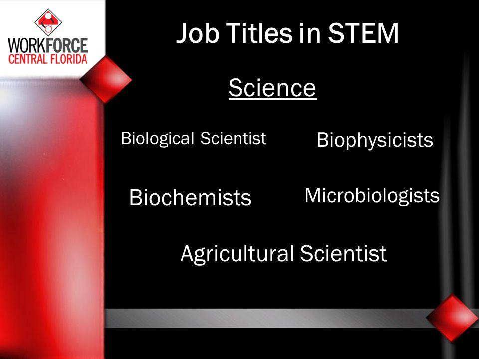 Job Titles in STEM Science Biological Scientist Biophysicists Biochemists Microbiologists Agricultural Scientist
