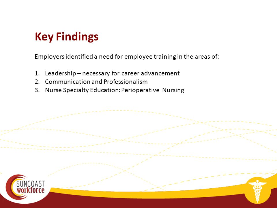 Employers identified a need for employee training in the areas of: 1.Leadership – necessary for career advancement 2.Communication and Professionalism